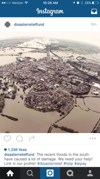 The Disaster Relief Fund has taken advantage of the visual nature of Instagram